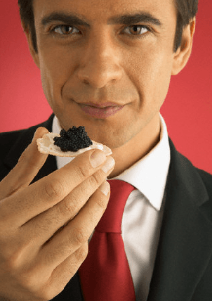 Man eating Caviar