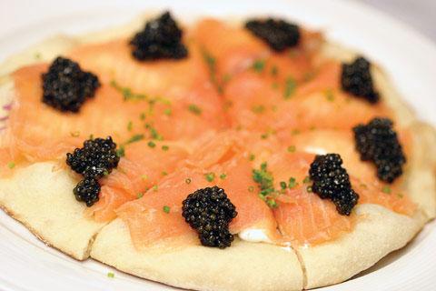 salmon caviar pizza