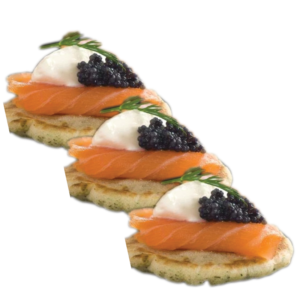 caviar topped smoked salmon