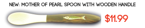 Mother of Pearl Spoon with Wooden Handle and Fish Emblem